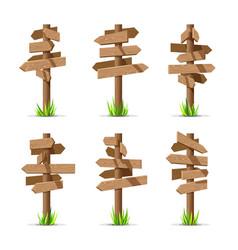 wooden arrow signboards blank set vector image