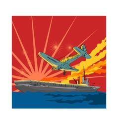 Airplane Attacking Ship vector image