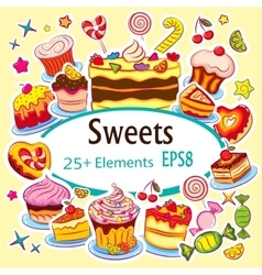 Beautiful Sticker Set Holiday Sweets vector image vector image