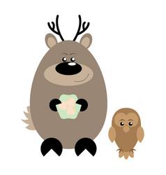 Deer and owl happy vector