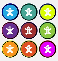 Gingerbread man icon sign Nine multi colored round vector image vector image