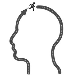 Head arrow road running to successful vector
