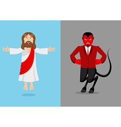 Jesus and devil Christ and Satan Son of God and vector image vector image