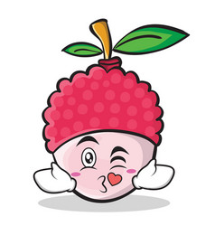 kissing face lychee cartoon character style vector image