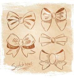 Set of bows sketch vector image