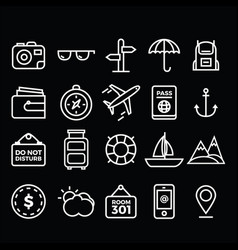 travel pack icons vector image