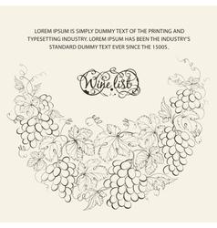 Vintage frame of grape vines vector image