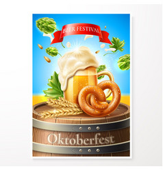 3d lager beer glass pretzel and sausage vector
