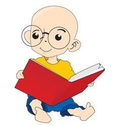 A boy reading book vector