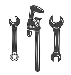 A set of three wrenches spanners Black on white vector image