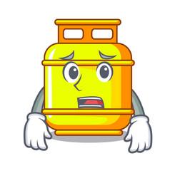 Afraid creative in gas cartoon tank container vector