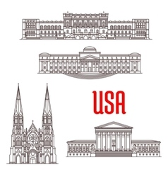 Architecture landmarks of USA vector