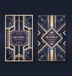 art deco banners 1920s party invitation flyer vector image