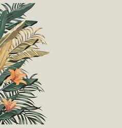banana leaves and flowers left border pattern vector image