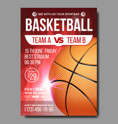 Basketball poster sport event announcement vector