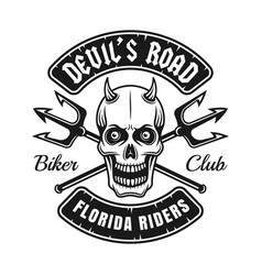 Biker club emblem with devil skull and tridents vector
