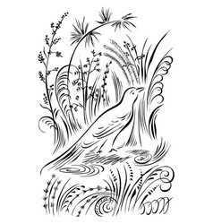Bird in the grass calligraphy swirling elements vector