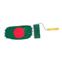 Brush stroke with bangladesh national flag vector