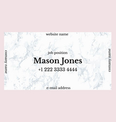 Business card template with pink and gray marble vector