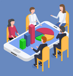 Business conference on mobile device with graphs vector