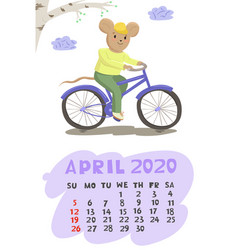 calendar for april 2020 with a mouse on a bicycle vector image