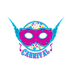 carnival mask with feathers and party ornaments vector image