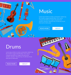 cartoon musical instruments web banner vector image