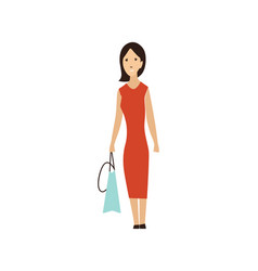 cartoon shopping people women character with gift vector image