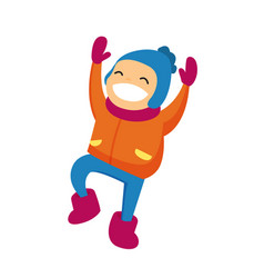 caucasian boy in winter clothing jumping outdoors vector image