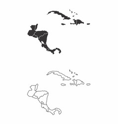 Central america and the caribbean maps vector