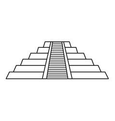 Chichen itza maya ruins mexico icon outline style vector