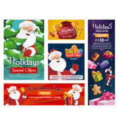 christmas sale santa gifts store special offer vector image