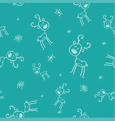 christmas seamless pattern with deer on blue vector image