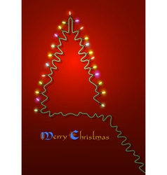 Christmas tree formed garland lights vector image