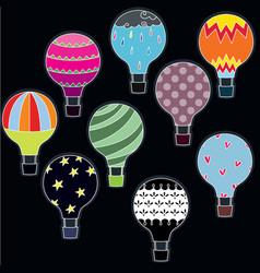 Colorful hot air balloons vector