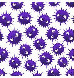 Coronavirus seamless pattern with cartoon bacteria vector