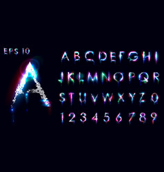 crumbling and luminous font english letters and vector image