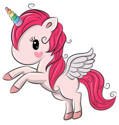 cute cartoon unicorn on a white background vector image