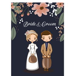 Cute couple for wedding invitations card vector