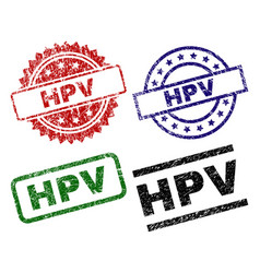 damaged textured hpv seal stamps vector image