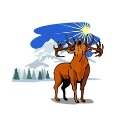 Deer in the Snow Mountains vector