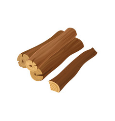 Detailed flat icon of dry firewood wooden vector