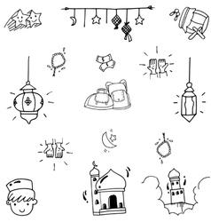 Eid Mubarak funny doodle art vector