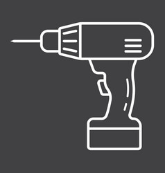 electric drill line icon build and repair vector image