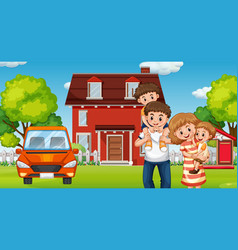 Family infront home vector