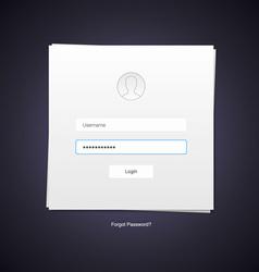 flat design minimalistic log in form vector image