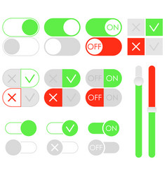 flat toggle switch set light theme on and off vector image