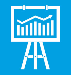Flipchart with marketing data icon white vector