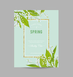 floral spring design template with golden frame vector image