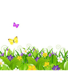 Flowers With Grass With Butterfly vector